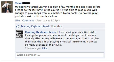 Reading Keyboard Music Facebook Testimonial from Steve