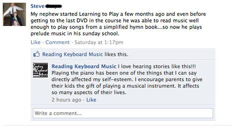 Reading Keyboard Music Facebook Testimonial from Steve